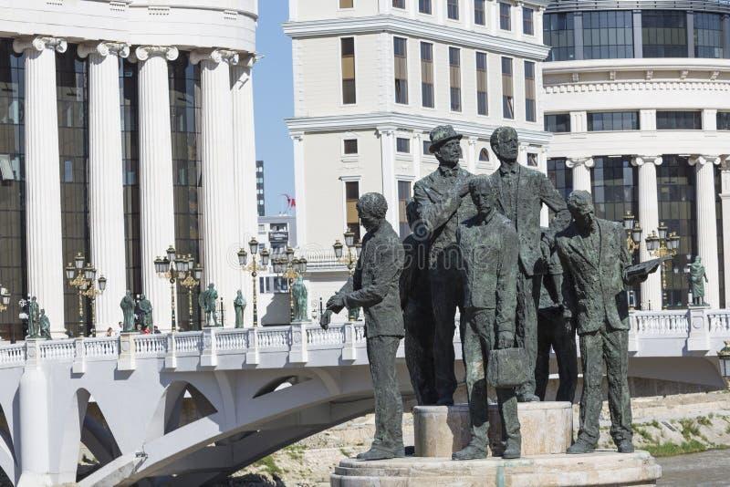 萨洛尼卡的船员的纪念碑在斯科普里-马其顿 免版税库存图片