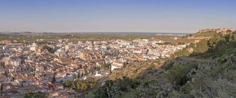 萨贡托全景照片  巴伦西亚自治区 库存照片