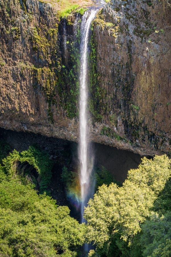落下在垂直的玄武岩墙壁,北部桌山生态储备,奥罗维尔,加利福尼亚的幽灵瀑布 库存照片