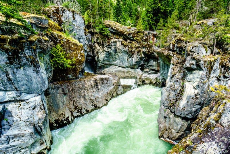 落下在Nairn下的Lillooet河的绿松石水落 免版税库存照片