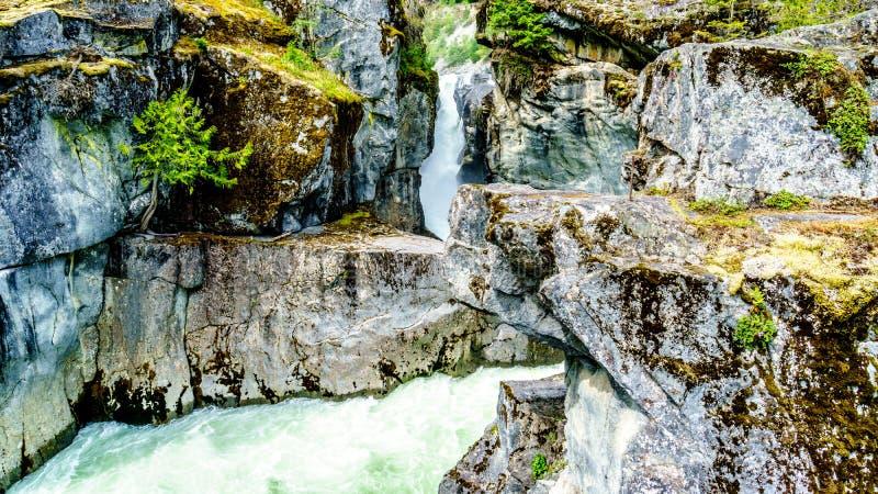 落下在Nairn下的Lillooet河的绿松石水落 免版税库存图片