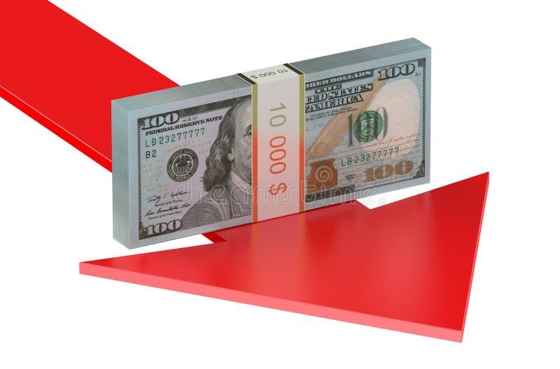 落与下来箭头的美国美元概念 向量例证