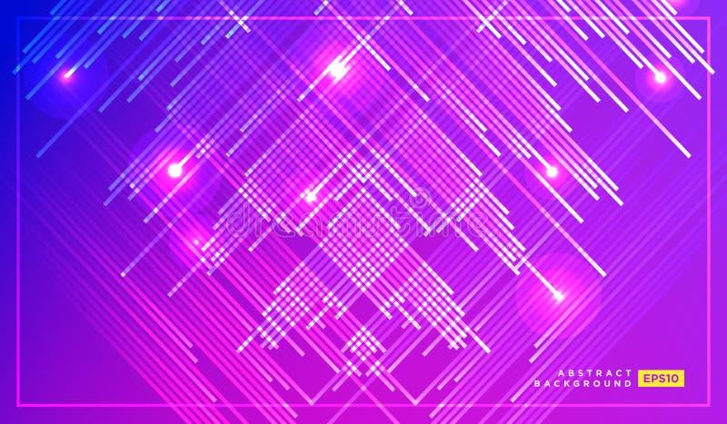 落与发光的轻的例证的对角传染媒介线 空间和星在黑暗的紫色背景 美好的不可思议的背景 皇族释放例证