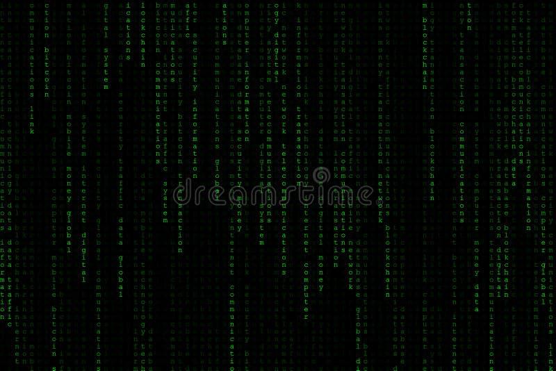 落从上面的浅绿色的数字式文本字词背景矩阵 库存照片