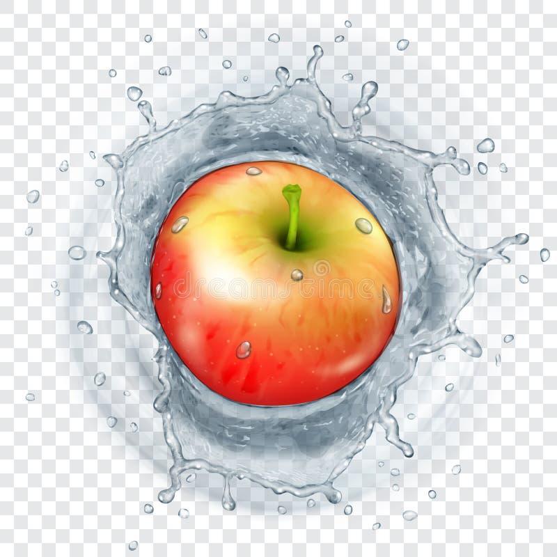 落入水的苹果计算机 皇族释放例证