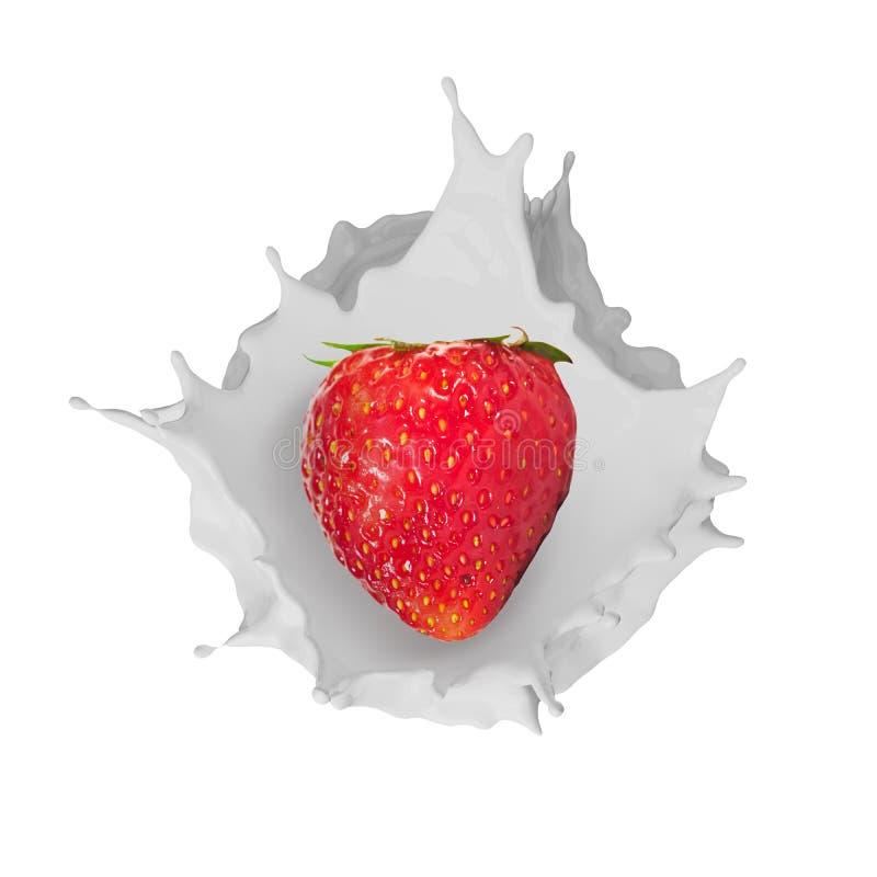 落入牛奶的草莓飞溅 皇族释放例证