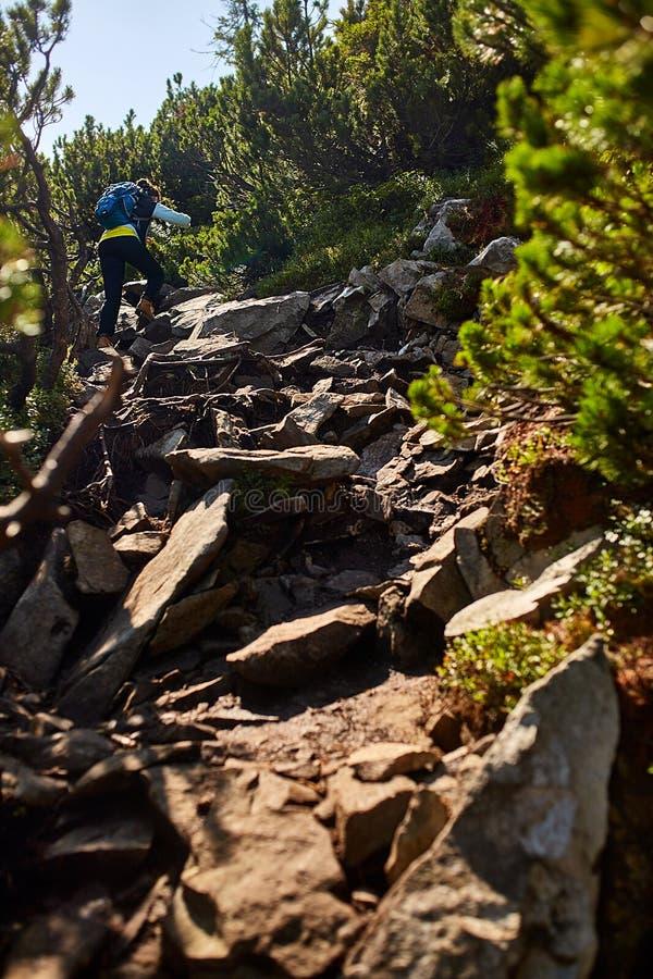落后连续妇女赛跑者在山上面的长城  免版税库存照片
