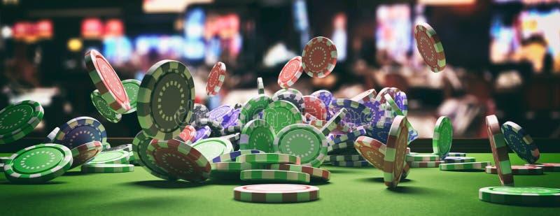 落在绿色感觉的轮盘赌桌,迷离赌博娱乐场内部背景上的纸牌筹码 3d?? 皇族释放例证