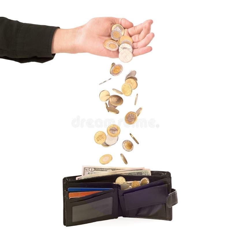 落在钱包里的硬币 库存图片