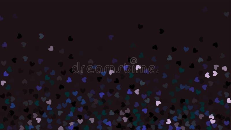 落在黑背景的美好的五彩纸屑心脏 邀请模板背景设计,贺卡,海报 夫妇日例证爱恋的华伦泰向量 库存例证