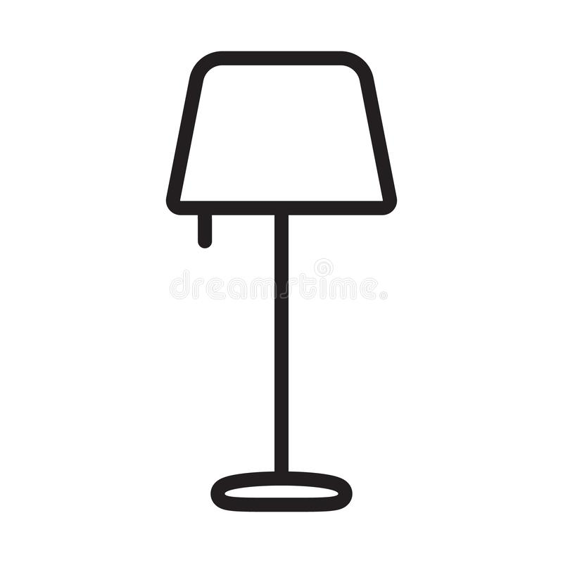 落地灯概述象 E 夜灯简单的线传染媒介象 皇族释放例证