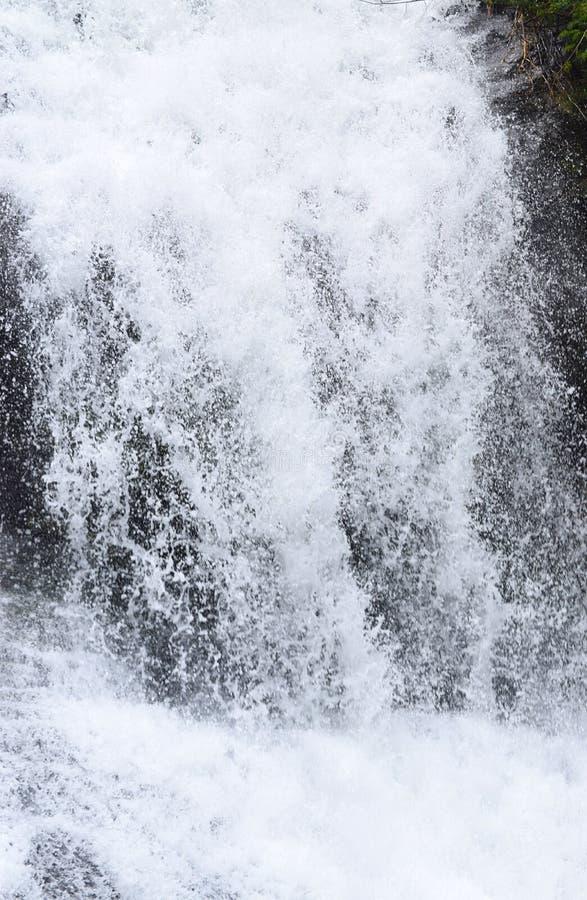 落用与洒白色泡沫似的下落-接近的力量的水 免版税图库摄影