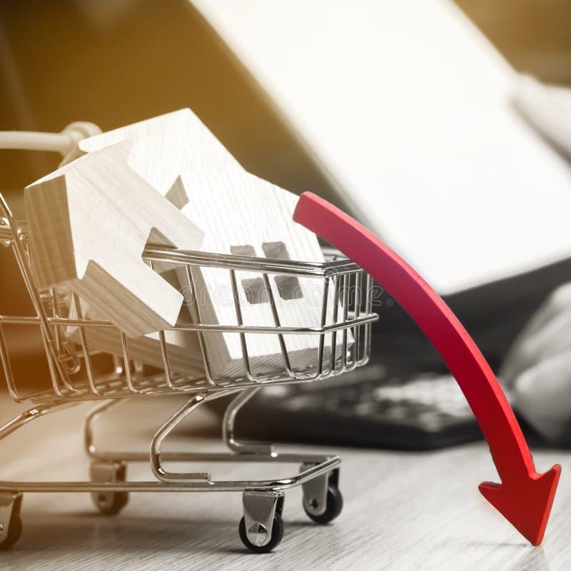 落的不动产市场的概念 减少的兴趣在抵押上 在物产价格和公寓的一种衰落 ? 图库摄影