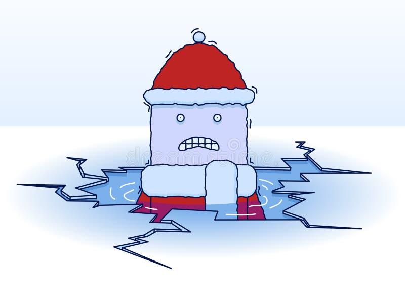 落的冰 库存例证