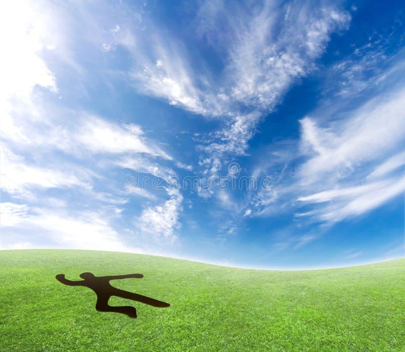 落的天空跳伞运动员 免版税图库摄影