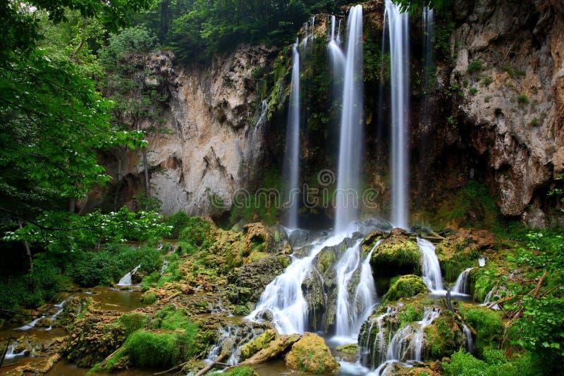 落的春天瀑布 库存照片