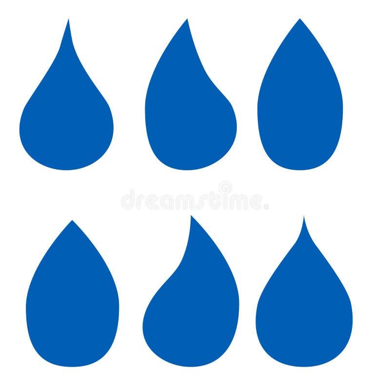 落的水象 干净的小滴商标模板 简单的平的标志 蓝色抽象符号 向量例证