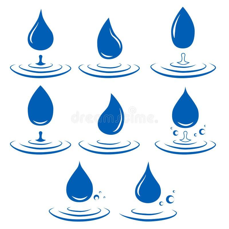 落的水象 干净的小滴商标模板 简单的平的标志 蓝色抽象符号 皇族释放例证