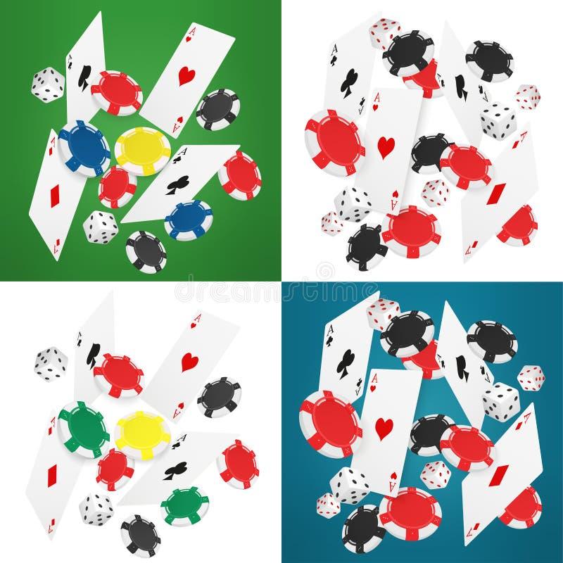 落的现实赌博娱乐场卡片、芯片和一点导航例证 网上赌博娱乐场横幅收藏 向量例证