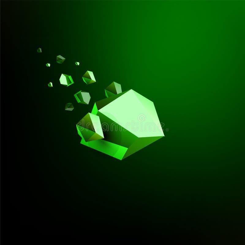 落的秀丽石头,绿宝石,空间残块,绿色崩溃的小行星,传染媒介3D例证 被隔绝的异常的商标 向量例证