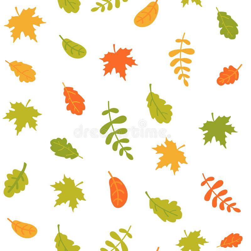 落的秋叶的无缝的样式在白色背景的 不同的树五颜六色的叶子  r 库存例证