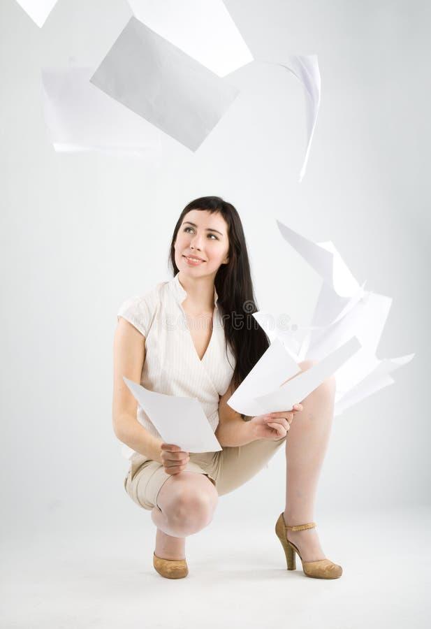 落的纸妇女 库存图片