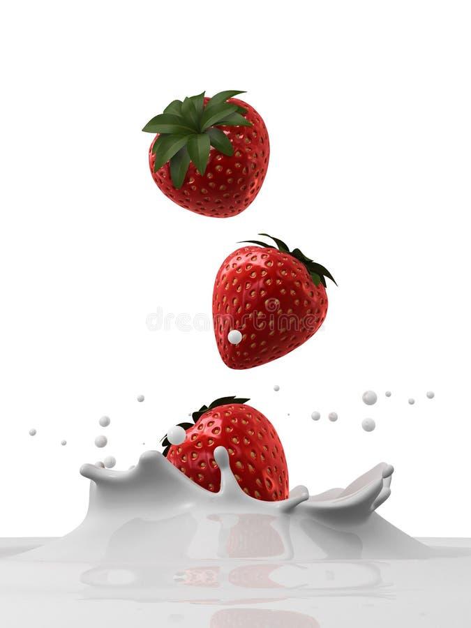 落的草莓 库存例证
