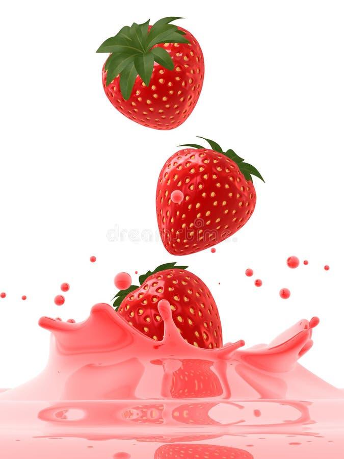 落的草莓 向量例证