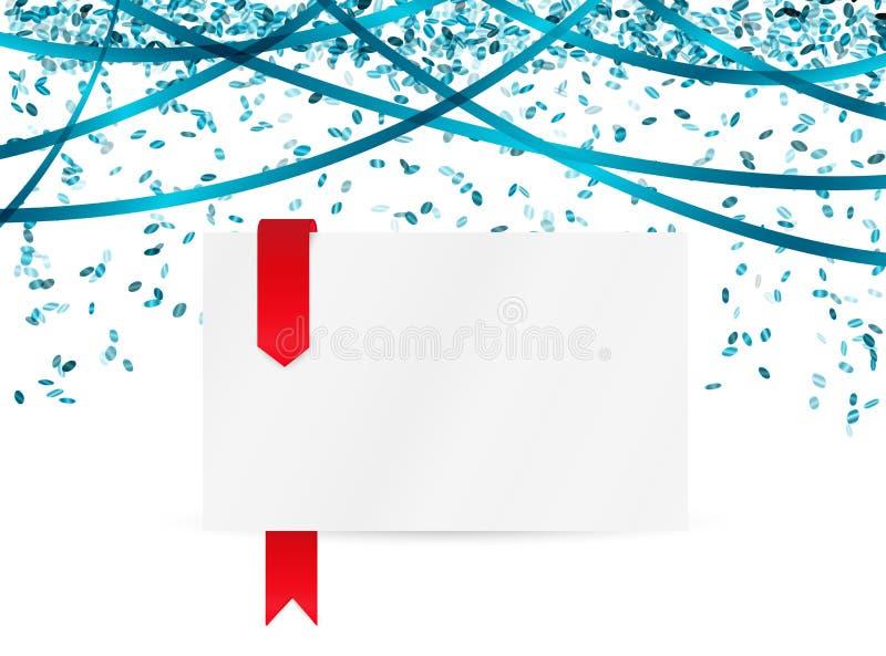 落的蓝色五彩纸屑和白纸 库存例证