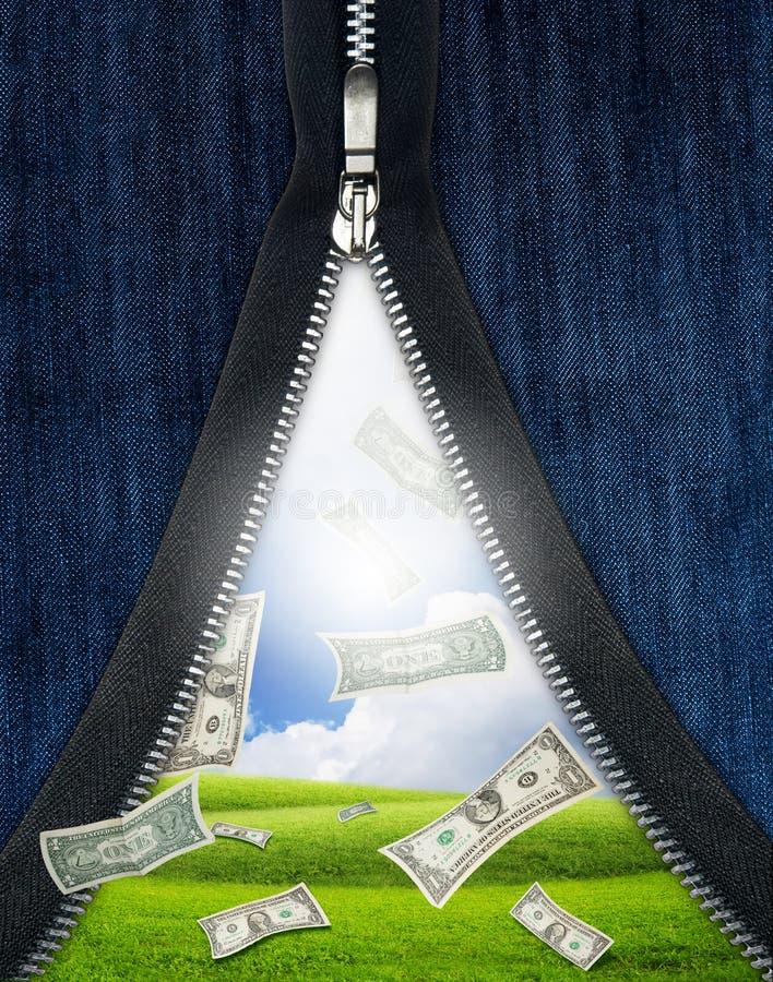 落的货币解压缩的拉链 免版税库存照片
