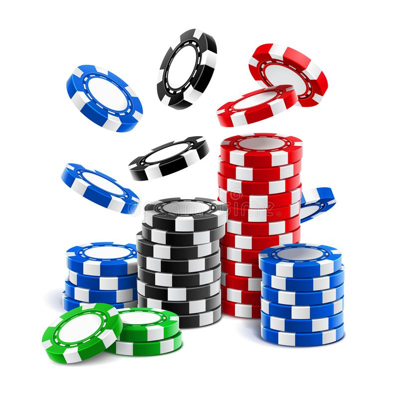 落的赌博娱乐场芯片或堆赌博的象征 库存例证