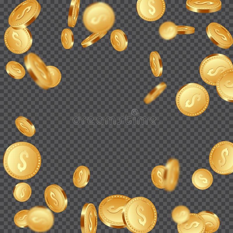 落的金属硬币背景 皇族释放例证