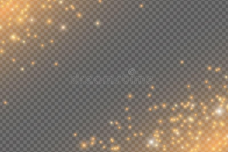 落的金黄光 不可思议的金黄在透明背景隔绝的尘土和强光 圣诞节星团传染媒介例证 向量例证