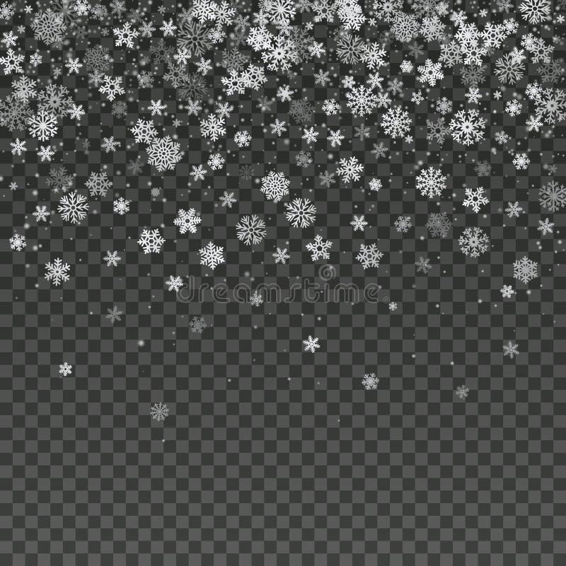 落的雪花被隔绝的传染媒介冬天装饰墙纸 库存例证