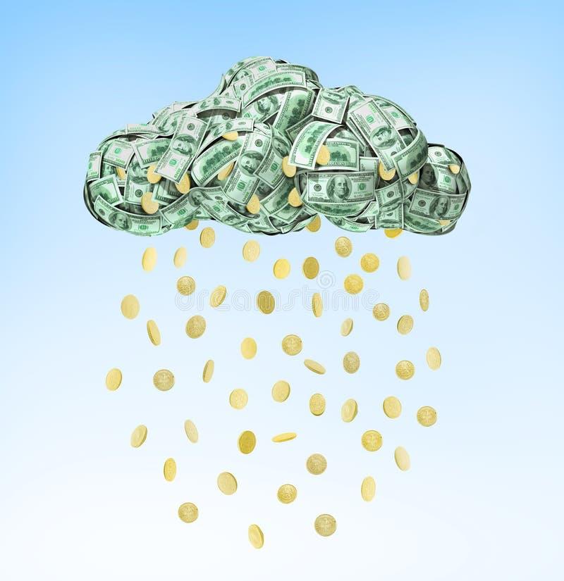 落从云彩的美元硬币 库存例证