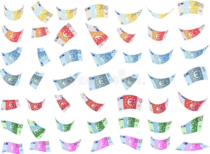 落仿制欧洲纸钞票塑造(传染媒介) 库存例证