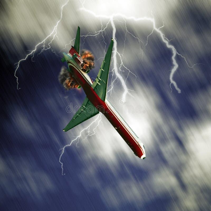 落从天空的飞机 图库摄影