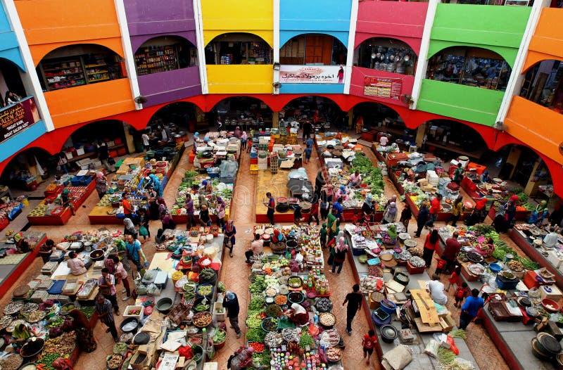 著名'Pasar Besar西提Khadijah'湿市场在哥打巴鲁,吉兰丹,马来西亚 免版税库存图片