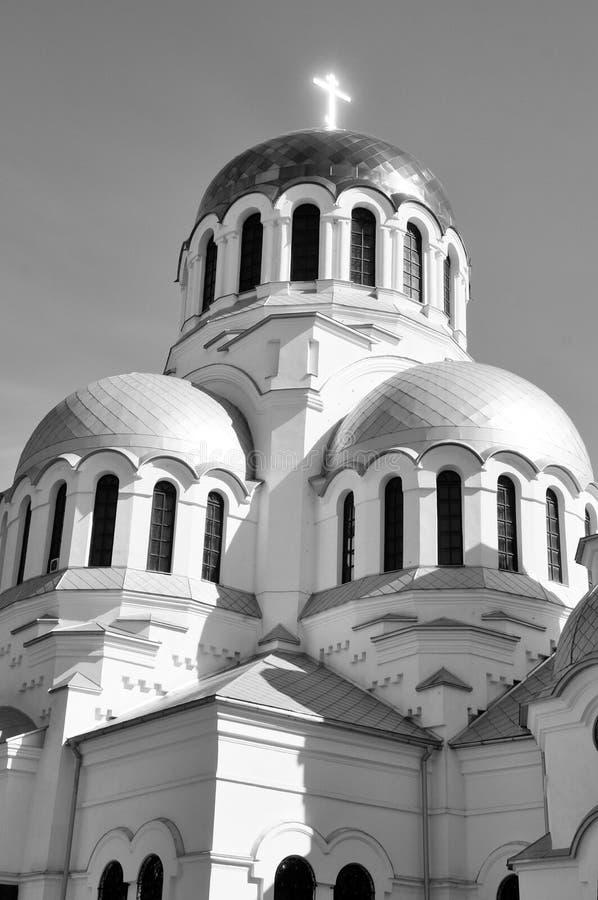 著名亚历山大・涅夫斯基东正教在Kamianets-Podilskyi,乌克兰 黑白图象 库存照片