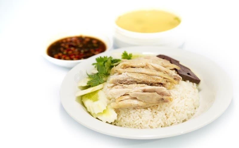 著名亚洲样式食物,海南鸡米 免版税库存图片