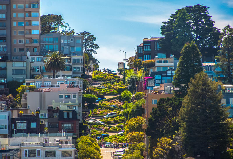 著名伦巴第街道,旧金山,加利福尼亚,美国 图库摄影