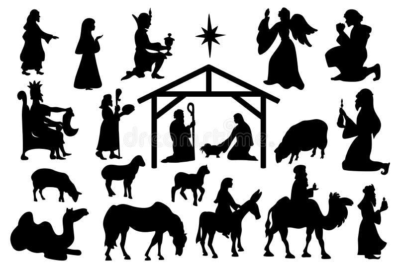 著名元素圣诞节霍莉夜 向量例证