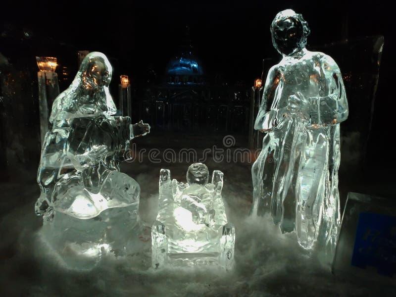 著名冰诞生场面在马萨马尔塔纳,翁布里亚的中心 免版税库存照片