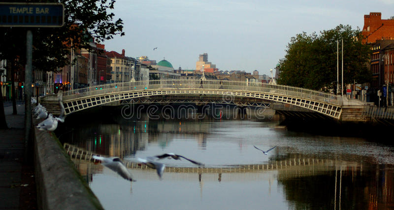 著名半便士铜币桥梁在都伯林,爱尔兰 库存照片