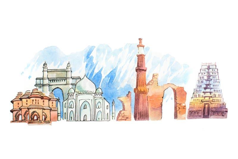著名印地安地标移动和旅游业waercolor例证 库存例证