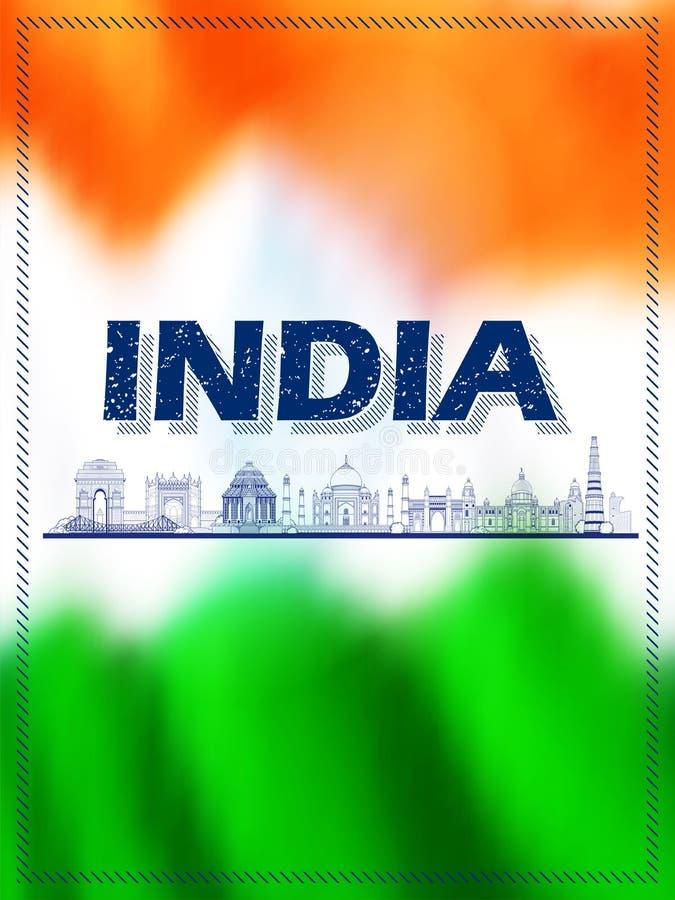 著名印度纪念碑和地标象泰姬陵、印度门、Qutub Minar和Charminar为愉快的共和国天  向量例证