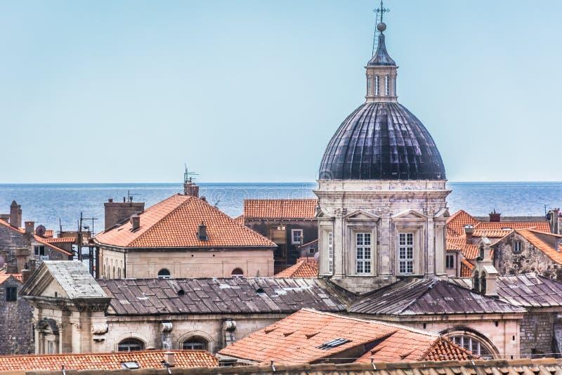 著名历史的大教堂在克罗地亚,杜布罗夫尼克 免版税库存图片