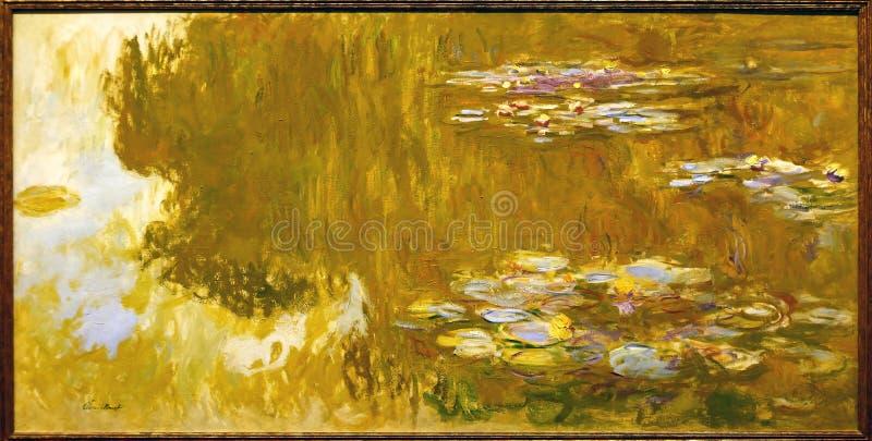 著名原始的绘画`的照片荷花池塘`克洛德・莫奈 免版税库存照片