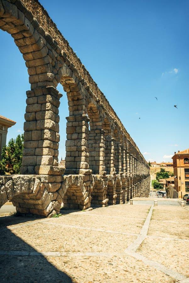 著名古老渡槽在塞戈维亚,西班牙 库存图片