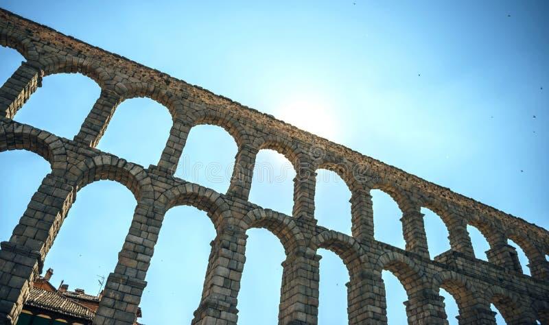 著名古老渡槽在塞戈维亚,西班牙 免版税库存图片